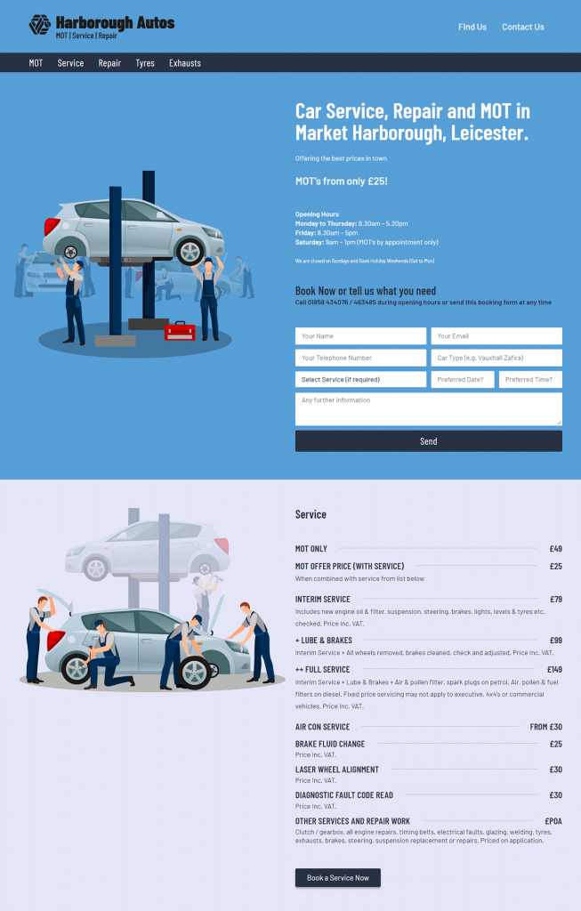 Car Servicing Website